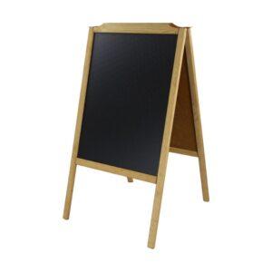 Holz Kundenstopper Kreidetafel mit hellem Rahmen in Buche aufstellbar