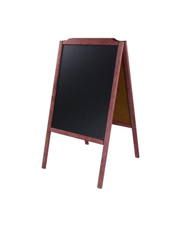 Holz Kundenstopper Kreidetafel mit rotem Rahmen beschriftbar mit Kreidemarker und Kreide