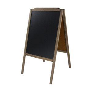 Holzaufsteller Holzaufsteller mit dunkelbraunem Rahmen und schwarzer beschriftbarer Kreidetafelmit dunkelbraunem Rahmen und schwarzer beschriftbarer Kreidetafel