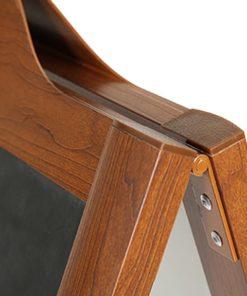 Kundenstopper Alu mit Holz Look, Detailfoto Scharniere