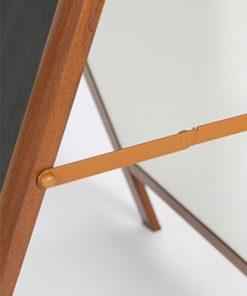 Kundenstopper Alu mit Holz Look, zusammenklappbar