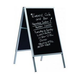 Kundenstopper Classic mit Blackboard, Alu Kundenstopper mit schwarzer Kreidetafel