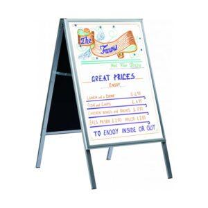 Kundenstopper Classic mit Whiteboard, Alu Kundenstopper mit weisser magnetischer Tafel