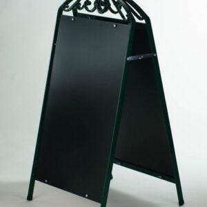 Kundenstopper Stahlrohr Antique mit schwarzer Tafel, Kundenstopper aus Stahl, massiver Kundenstopper, Ausführung grün
