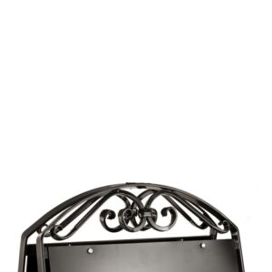 Kundenstopper Stahlrohr Antique mit schwarzer Tafel, Kundenstopper aus Stahl, massiver Kundenstopper, Schmiedekunst anthrazit