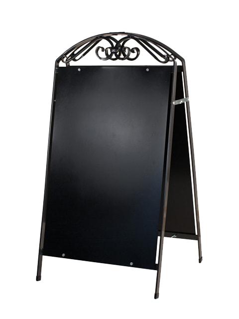 Kundenstopper Stahlrohr Antique mit schwarzer Tafel, Kundenstopper aus Stahl, massiver Kundenstopper, anthrazit