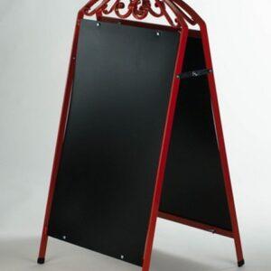 Kundenstopper Stahlrohr Antique mit schwarzer Tafel, Kundenstopper aus Stahl, massiver Kundenstopper, rot
