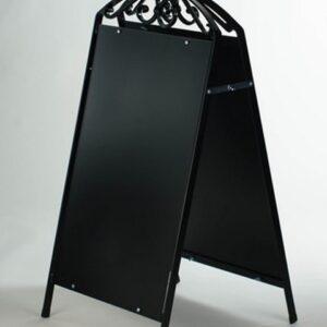Kundenstopper Stahlrohr Antique mit schwarzer Tafel, Kundenstopper aus Stahl, massiver Kundenstopper, schwarz