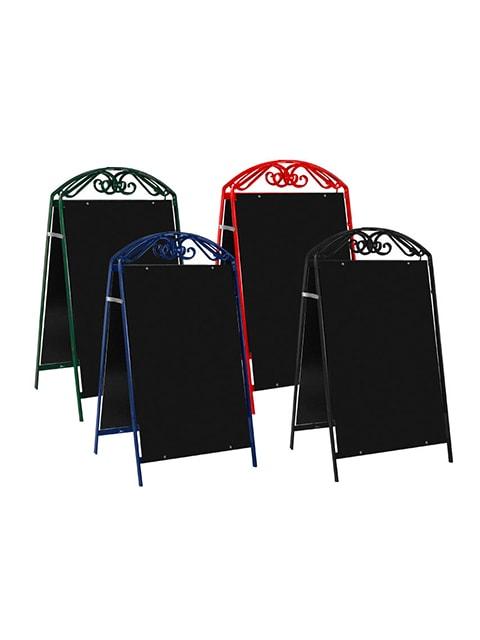 Kundenstopper Stahlrohr Antique mit schwarzer Tafel, Kundenstopper aus Stahl, massiver Kundenstopper