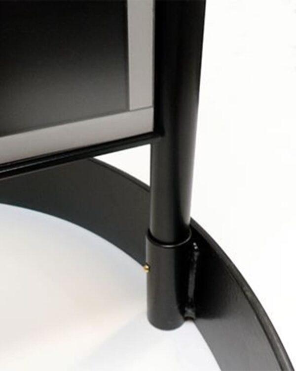 Kundenstopper Stahlrohr Basic Circle, Gehwegaufsteller aus Metall, Strassenaufsteller aus Stahl, runder Fuss