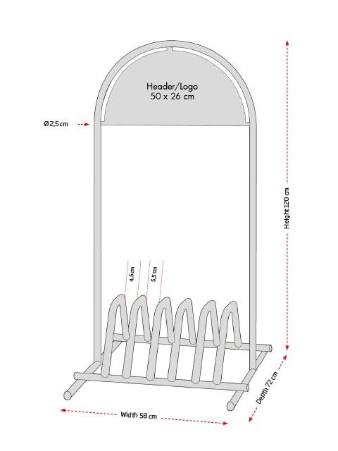 Kundenstopper Stahlrohr Basic Fahrradständer, Vermassung