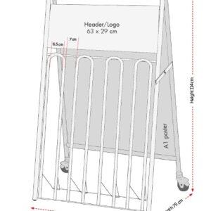 Kundenstopper Stahlrohr Fahrradständer Kombi, Vermassung