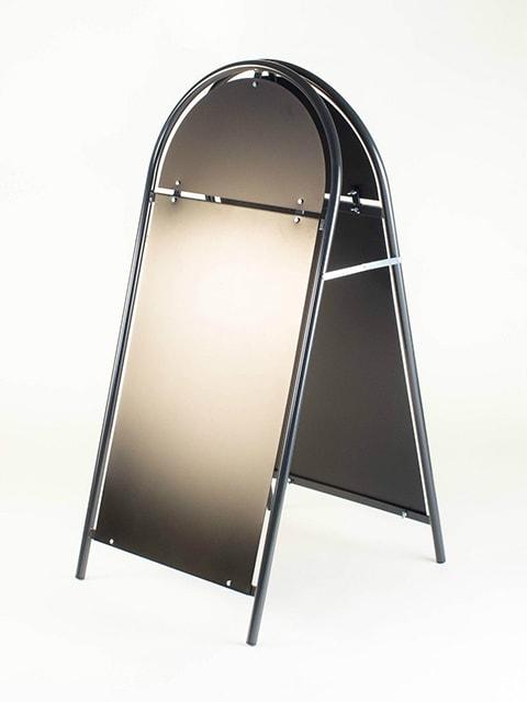 Kundenstopper Stahlrohr Rondo mit schwarzer Tafel, Kundenstopper aus Stahl, Strassenständer anthrazit