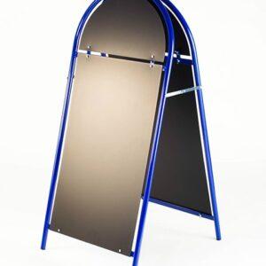 Kundenstopper Stahlrohr Rondo mit schwarzer Tafel, Kundenstopper aus Stahl, Strassenständer blau