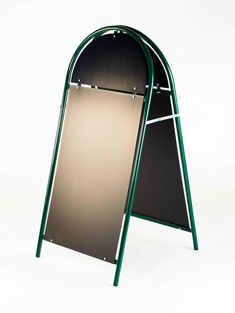 Kundenstopper Stahlrohr Rondo mit schwarzer Tafel, Kundenstopper aus Stahl, Strassenständer grün