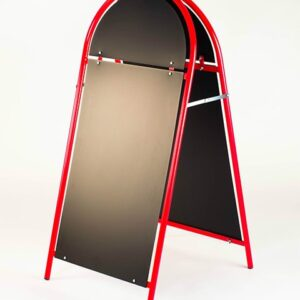 Kundenstopper Stahlrohr Rondo mit schwarzer Tafel, Kundenstopper aus Stahl, Strassenständer rot