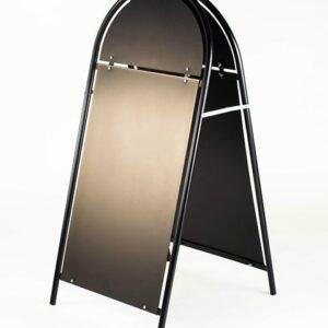 Kundenstopper Stahlrohr Rondo mit schwarzer Tafel, Kundenstopper aus Stahl, Strassenständer schwarz