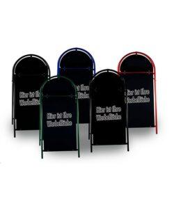 Kundenstopper Stahlrohr Rondo mit schwarzer Tafel, massiver Kundenstopper, Kundenstopper aus Stahl, verschiedene Farben