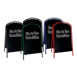 Kundenstopper Stahlrohr Simple mit schwarzer Tafel, Werbeaufsteller Stahl, Strassenständer Stahl, verschiedene Farben