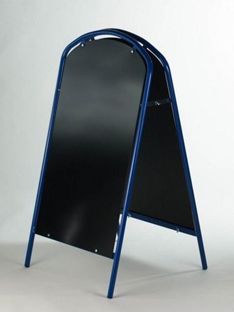 Kundenstopper Stahlrohr Simple mit Kreidetafel, Werbeaufsteller aus Stahl, Strassenständer aus Stahl, Blau 2