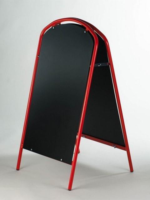 Kundenstopper Stahlrohr Simple mit Kreidetafel, Werbeaufsteller aus Stahl, Strassenständer aus Stahl, Rot 2