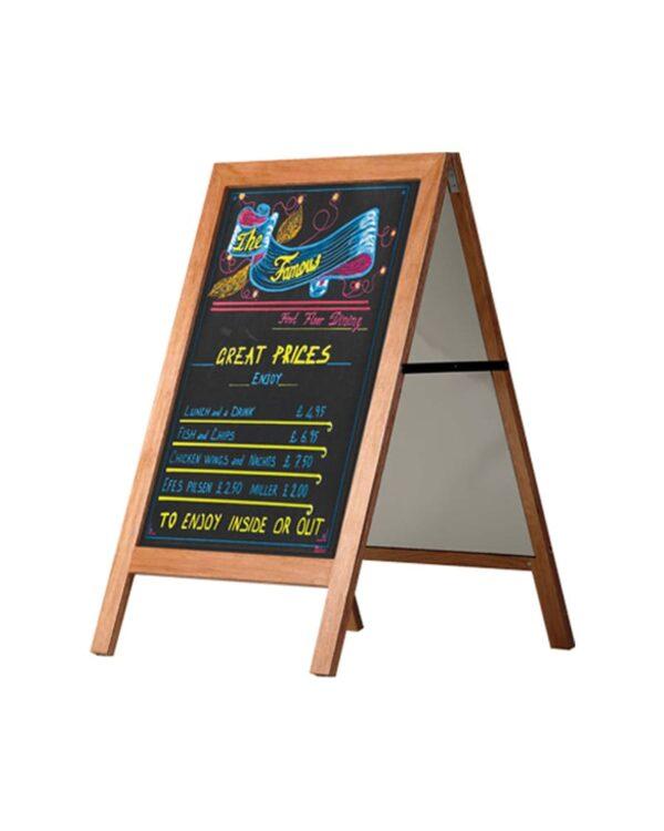 holz kundenstopper 105x70cm, wetterfest, holzaufsteller mit kreidetafel, Anwendungsbeispiel