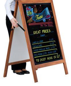 holz kundenstopper 105x70cm, wetterfest, holzaufsteller mit kreidetafel, zusammenklappen