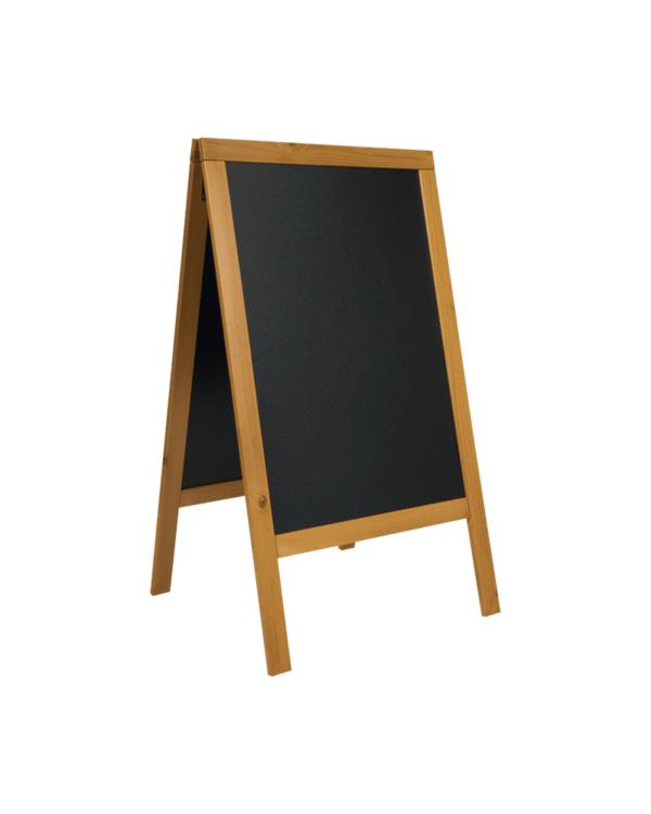 Hellbrauner Holz Kundenstopper mit schwarzer Kreidetafel zum Beschriften mit Securit Kreidemarker und Aufsteller vor Gastrobetrieben