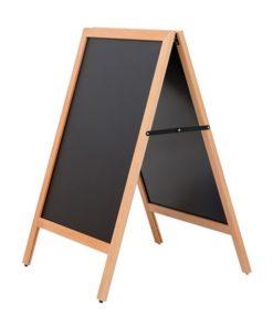 wetterfester Holz Kundenstopper in der Farbe mahagoni und beschriftbarer Kreidetafel