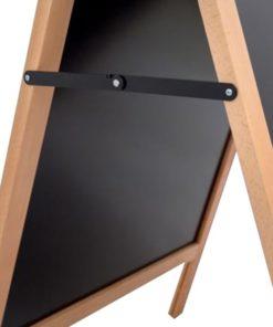 Kundenstopper aus Holz, Detailansicht der seitlichen Scharniere