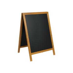 Holz Kundenstopper Aufsteller mit Kreidetafel und hellbraunem Rahmen, Securit Kreidetafel Aufsteller