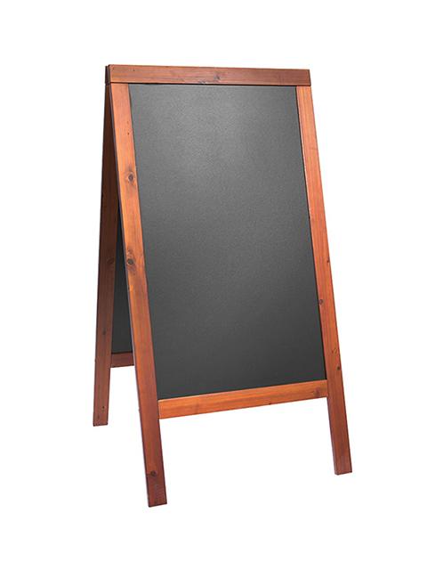 holz kundenstopper 125x70cm in mahagoni wetterfest. Black Bedroom Furniture Sets. Home Design Ideas