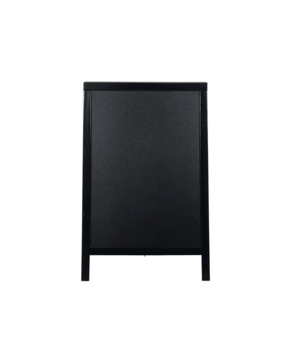 wetterfester Holz Kundenstopper mit Kreidetafel und schwarzem Rahmen, Holzaufsteller schwarz wetterfest Marke Securit