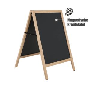 wetterfester Holz Kundenstopper mit Rahmen, aufstellbare stabile Kreidetafel Kundenstopper 105x68cm