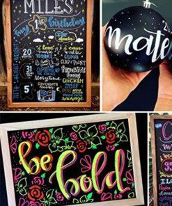 wasserfeste kreidestifte für die beschriftung von kreidetafeln & boards, verschiedene objekte wie tafeln & ball mit wetterfesten kreidemarker beschriftet