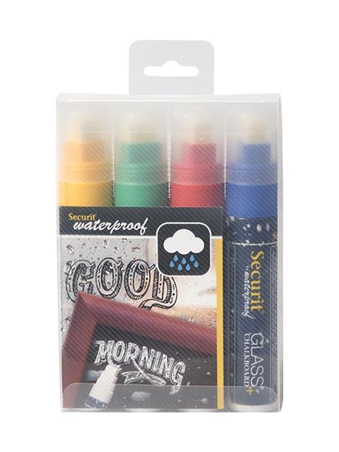 wasserfeste kreidemarker für die beschriftung von kreidetafeln & boards, 4-er set farbig, 15mm strichbreite, hintergrund weiss