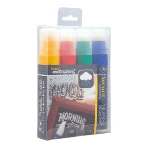 wasserfestes Kreidemarker 4-er Set farbig mit 7-15mm Strichbreite, Securit Kreidemarker farbig wasserfest für Kriedetafeln & Wandtafel Beschriftung