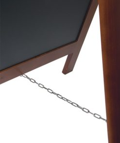 holz kundenstopper wetterfest in der grösse 125x70cm, dunkelbrauner holzrahmen, schwarze kreidetafel für die beschriftung mit kreide oder kreidemarker, detailansicht abstandskette
