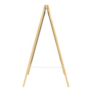 A Aufsteller aus Holz mit beschriftbarer Kreidetafel und Kette unten bei den Füssen, Securit Holzaufsteller A mit Kreidetaefl beschriftbar