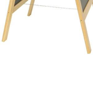 Kundenstopper aus Holz mit Kette zwischen den beiden Tafeln um als A-Aufsteller positioniert zu werden vor Gastrobetrieben