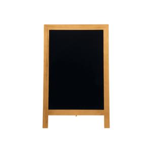 Holz Kundenstopper mit hellbraunem Holzrahmen und schwarzer Kreidetafel Fläche, Restaurant Tafel aus Holz wetterfest