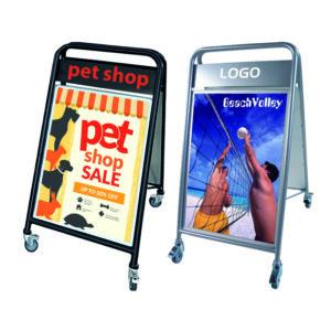 Stahl Kundenstopper mit Logoschild und Räder zum Bewegen, massiver Plakatständer mit Rollen