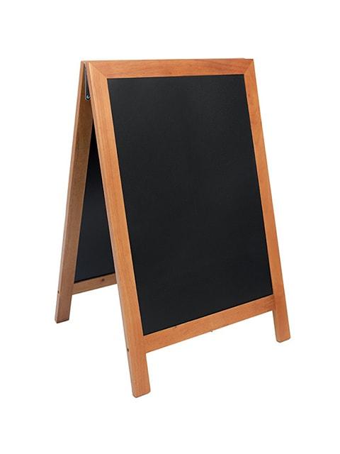 wetterfester holz kundenstopper deluxe 85x55cm, hellbrauner holzrahmen, schwarze kreidetafel unbeschriftet