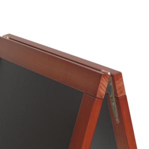 Holz Kundenstopper Outdoor mit Mahagoni Holzrahmen, Holzaufsteller für den Aussenbereich, schwerer Holz Kundenstopper