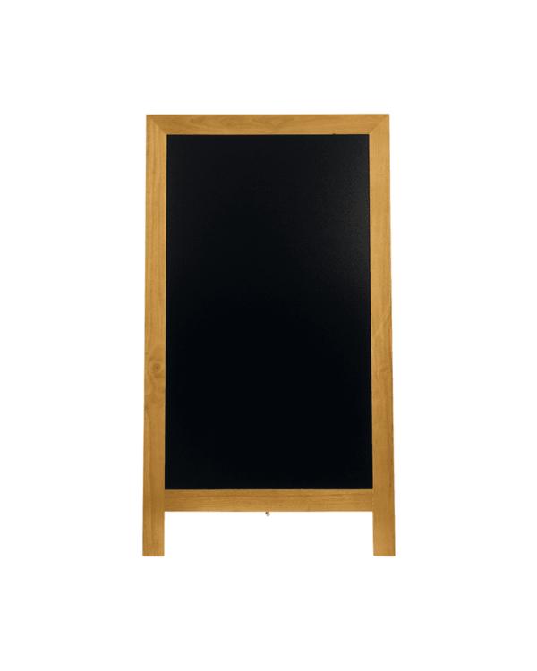 Holzaufsteller wetterfest 125x70cm Aufstellgrösse und beschriftbarer Kreidetafelfläche in Schwarz, Securit Holz Kundenstopper