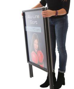 Kundenstopper Alu Classic schwarz in zugeklappter Ausführung