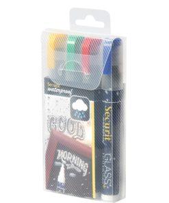 wasserfestes kreidemarker-set , 6mm strichbreite, rot-blau-grün-gelb, verpackt
