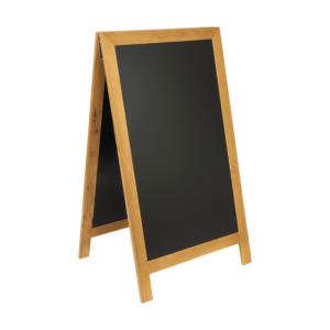 wetterfester Holz Kundenstopper Hellbraun Teak mit Holzrahmen und beschriftbarer schwarzer Kreidetafel, Holzaufsteller 125x70cm