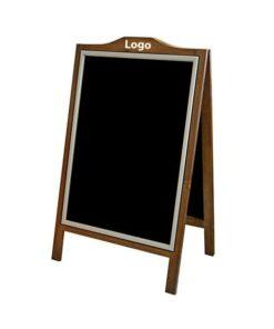 Holz Kundenstopper mit Alu Klapprahmen beschriftbar mit Kreide oder Plakaten, individuelle Gravur mit Deinem Logo oder Schrift