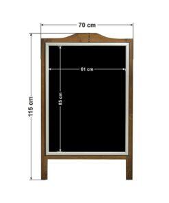 Holz Kundenstopper mit Alu Klapprahmen beschriftbar mit Kreide oder Plakaten, mit individueller Gravur